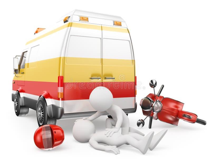 3d witte mensen Ziekenwagen in een motorfietsongeval vector illustratie