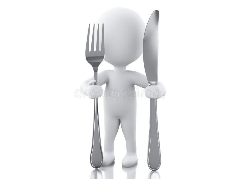 3d witte mensenchef-kok met vork en mes vector illustratie