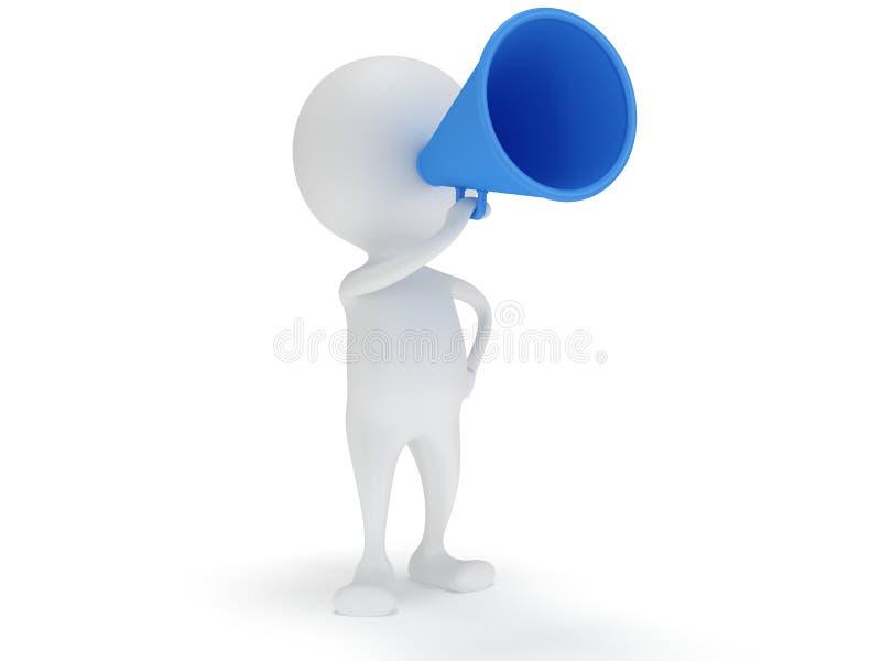 3d witte mensentribune met blauwe megafoon vector illustratie