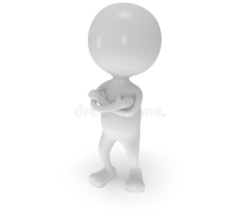 Download 3d Witte Mensentribune Met Gevouwen Wapens Stock Illustratie - Illustratie bestaande uit weinig, koppig: 39105534