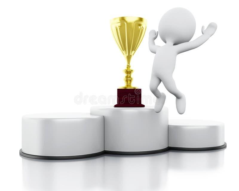 3d witte mensenwinnaar op sportenpodium met trofee stock illustratie