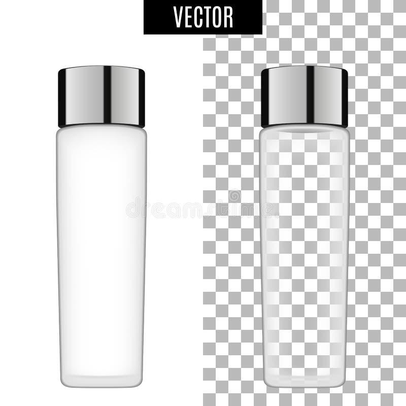 3d witte realistische kosmetische lege buizen van het pakketpictogram op transparante vectorillustratie als achtergrond Realistis stock illustratie