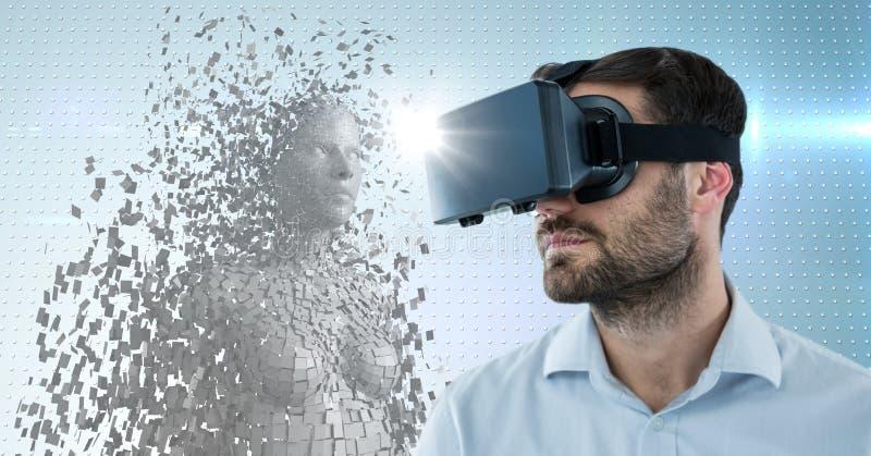 3D witte vrouwelijke AI en mens in VR met gloed tegen blauwe gestippelde achtergrond stock afbeelding