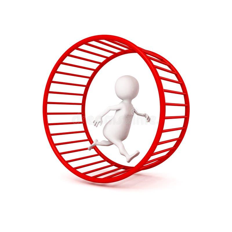 3d witte zakenmanlooppas in hamsterwiel stock illustratie