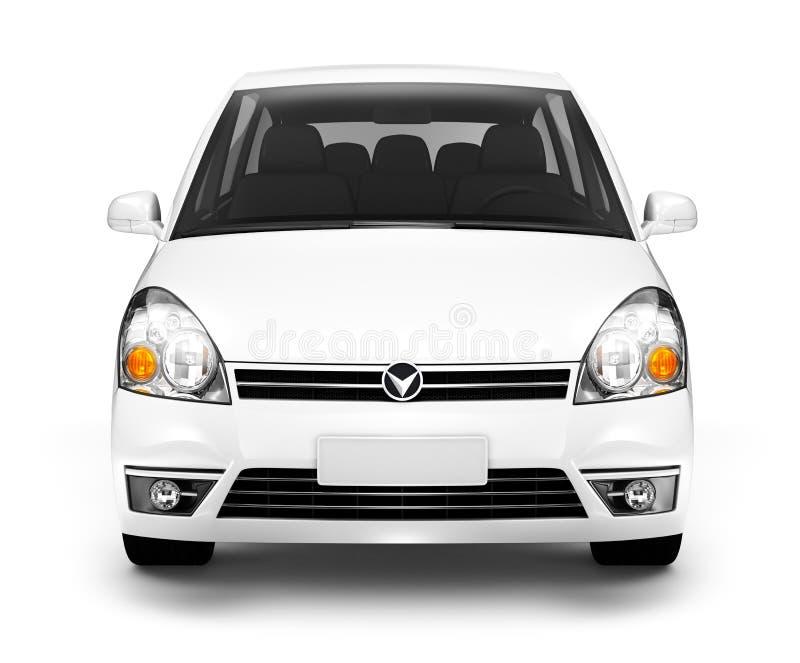 3D wizerunek Frontowy widok Biały samochód fotografia stock