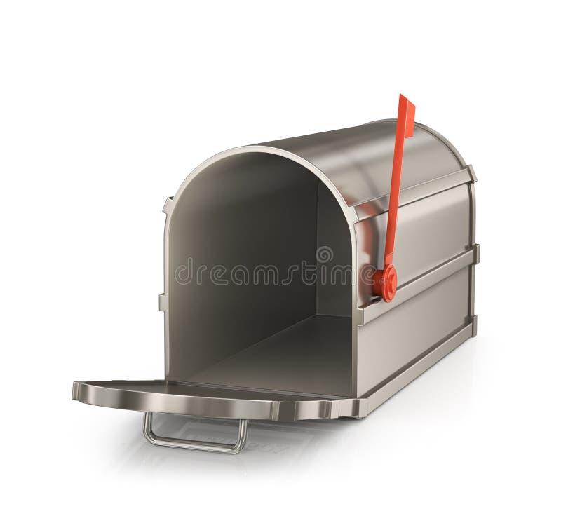 3d wizerunek odizolowywająca skrzynka pocztowa otwarta ilustracja wektor