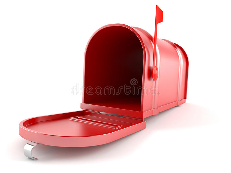 3d wizerunek odizolowywająca skrzynka pocztowa otwarta royalty ilustracja