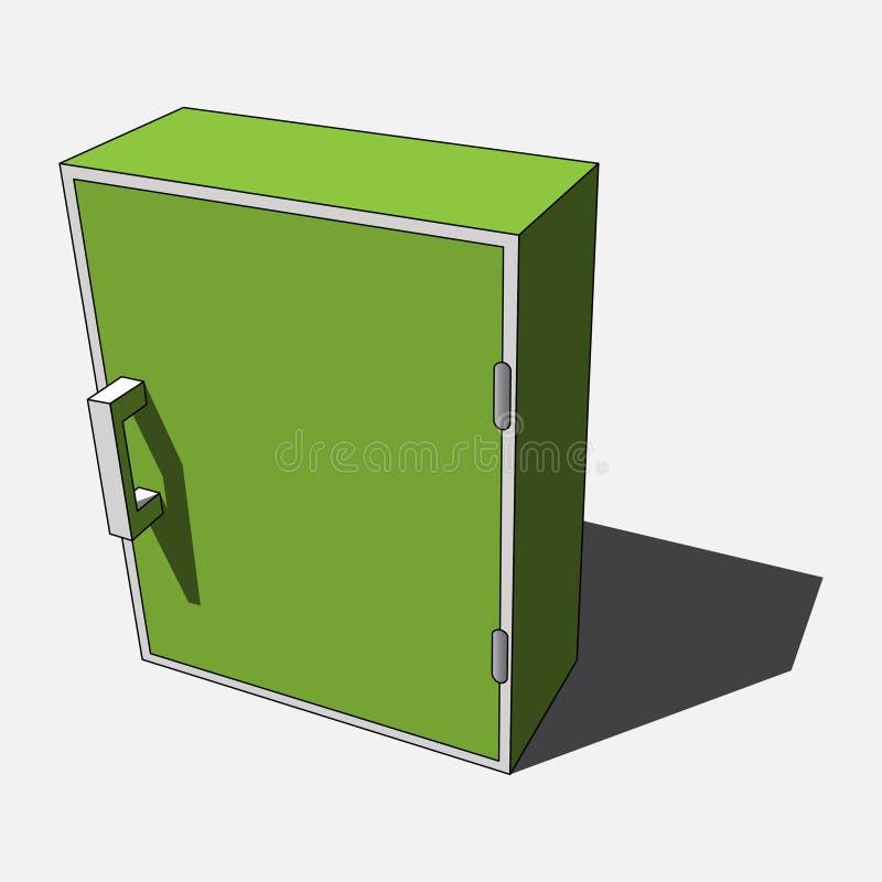 3D wizerunek - prosta zieleń, biały odosobniony gabinet ilustracji