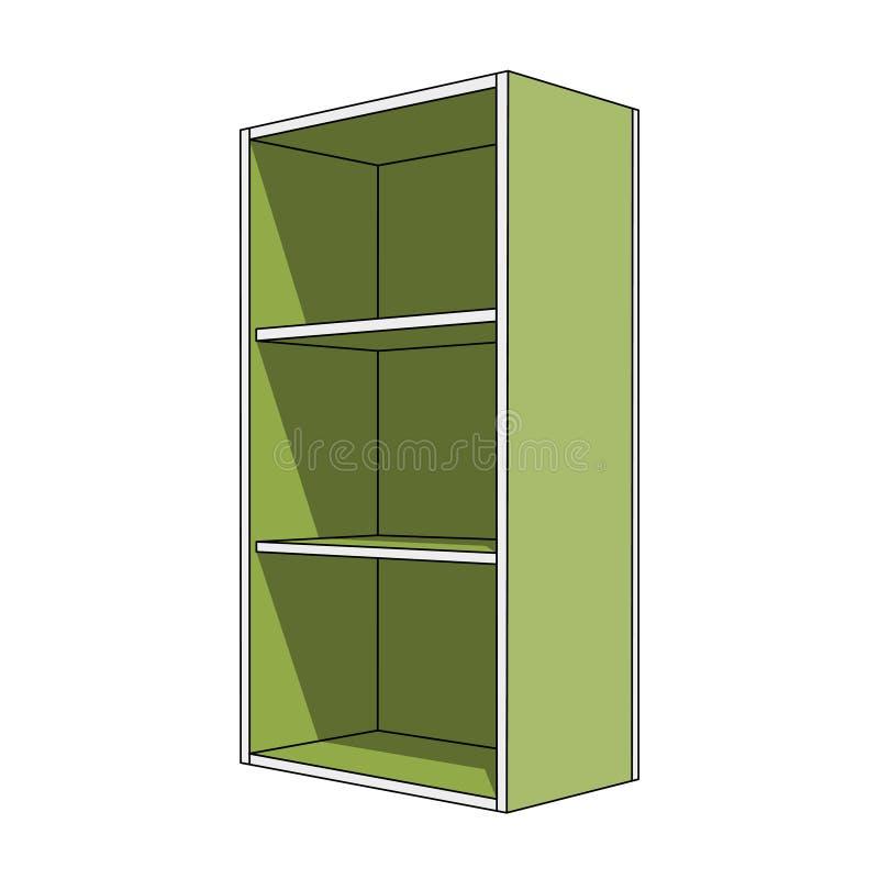 3D wizerunek - prosty zielony gabinet z półkami ilustracja wektor