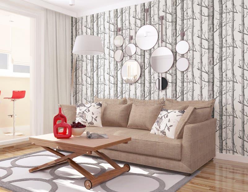 3d wnętrze nowożytny żywy pokój z tapetowym drzewnym cole, synem & brąz kanapą ilustracja wektor