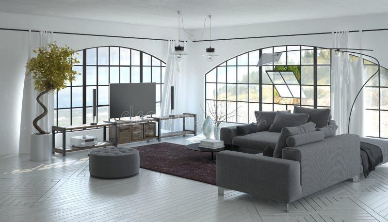 3D wnętrze żywy pokój z telewizja setem obraz royalty free