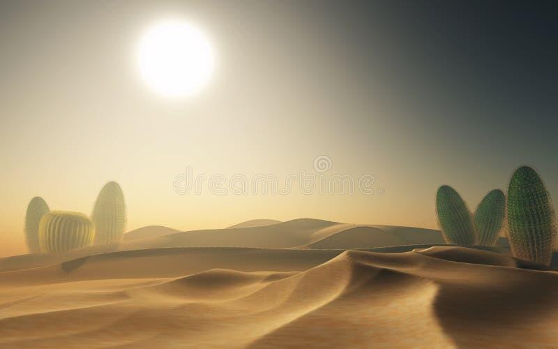 3D woestijnscène met cactussen stock illustratie