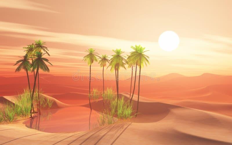 3D woestijnscène met palmoase stock illustratie