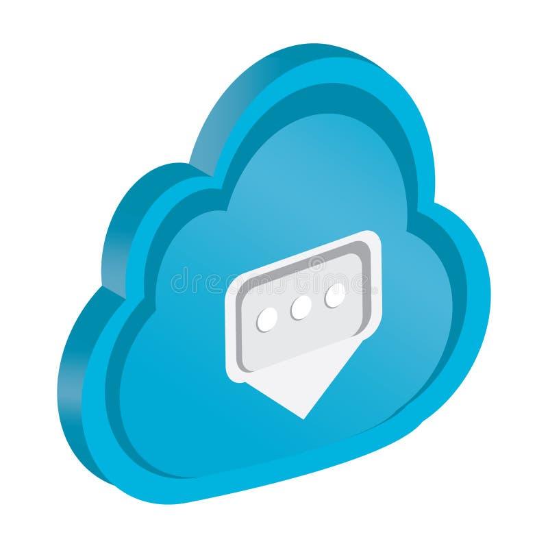 3d wolk gegevensverwerkingspictogram met een ontvangen bericht royalty-vrije illustratie