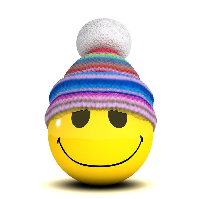 3d wollen hoed van Smiley vector illustratie