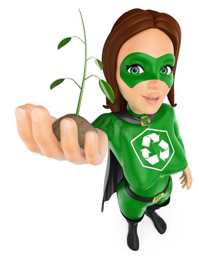 3D Woman superhero of recycling with a plant growing in hand royalty free illustration
