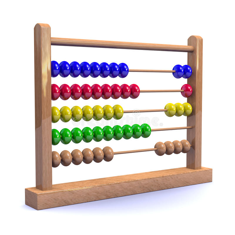 3d Wooden abacus. 3d render of a wooden abacus stock illustration