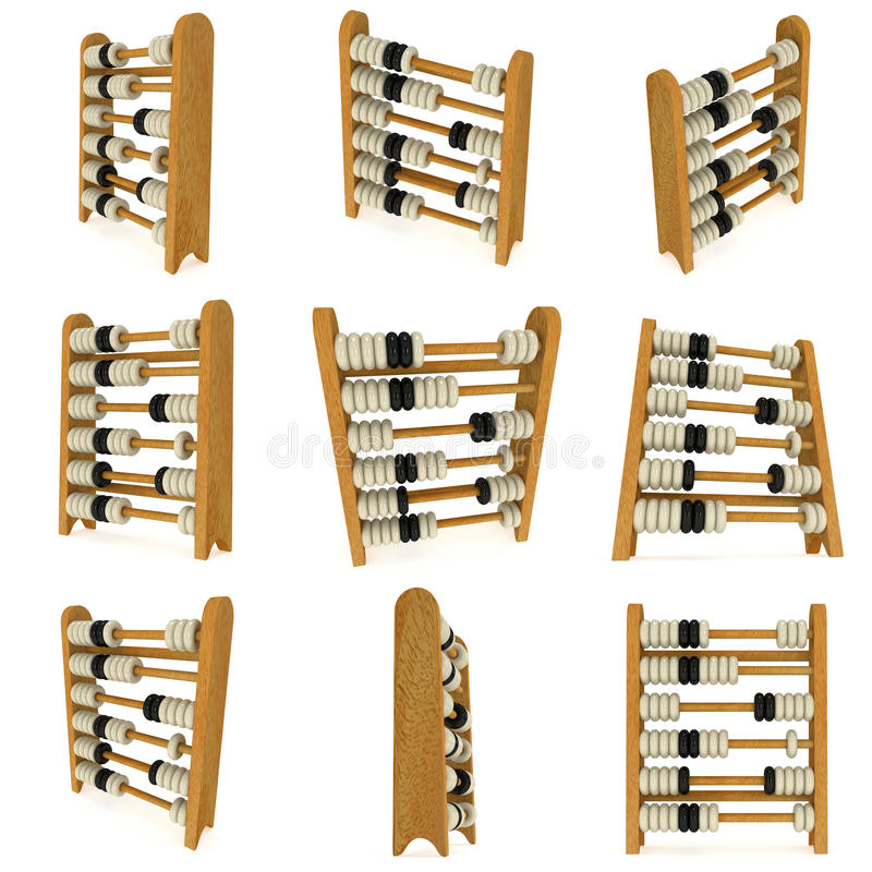 3d wooden black and white toy abacus set royalty free illustration