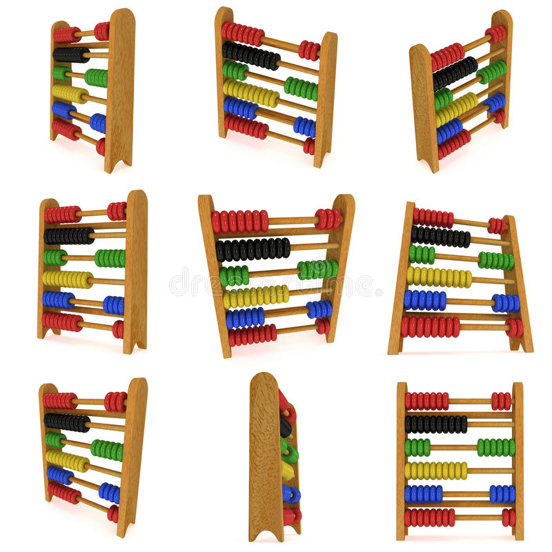 3d wooden colorful toy abacus set collection. 3d render illustration on white. Education concept stock illustration
