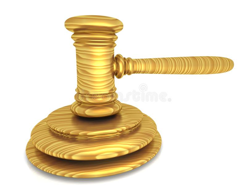 3d wooden gavel royalty free illustration