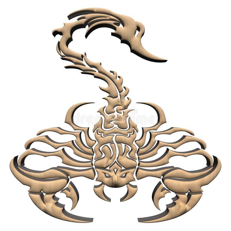 3D Wooden Scorpion stock image
