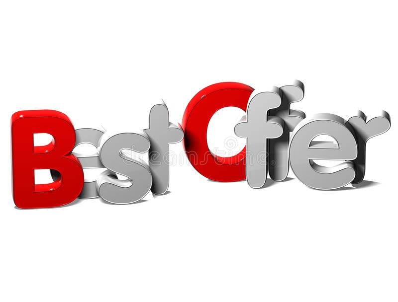 3D Word Best Offer On White Background Stock Photography