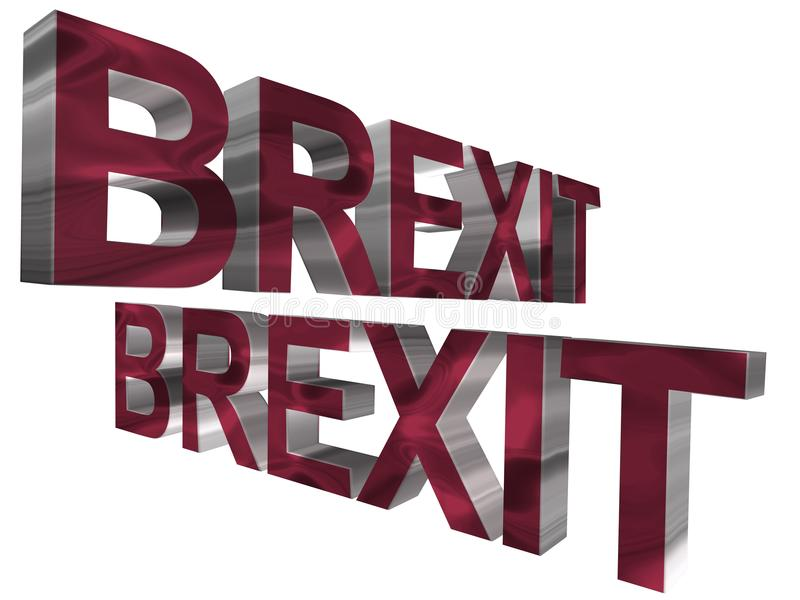 3D word - brexit. Solid 3d brexit word in red and silver stock illustration