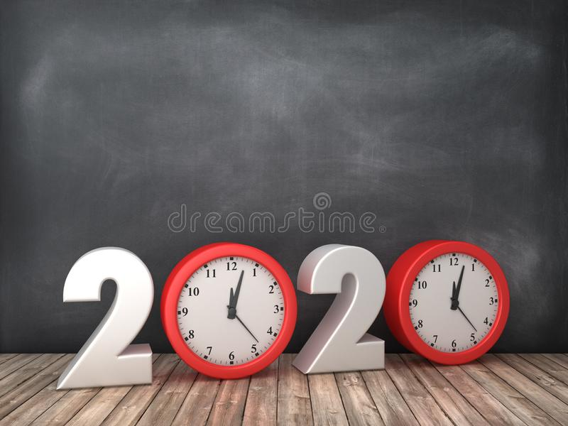 2020 3D Word with Clock on Chalkboard Background royalty free illustration