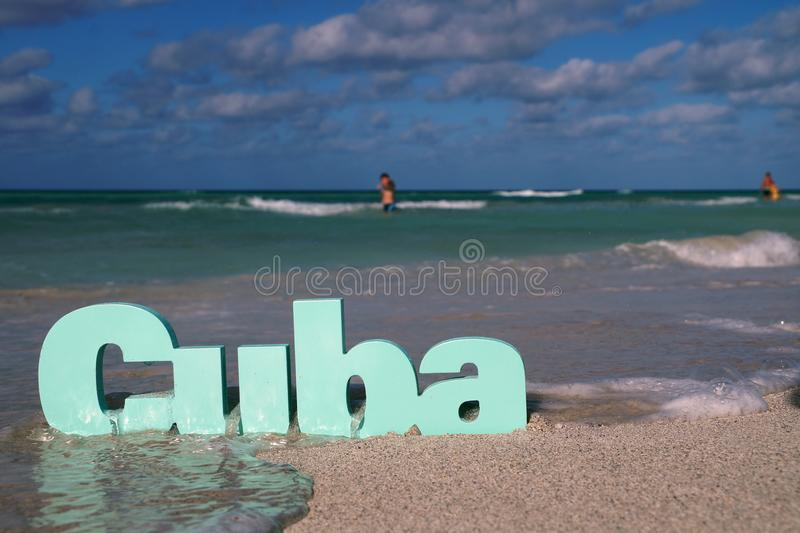 3d word Cuba immersed in water stock image