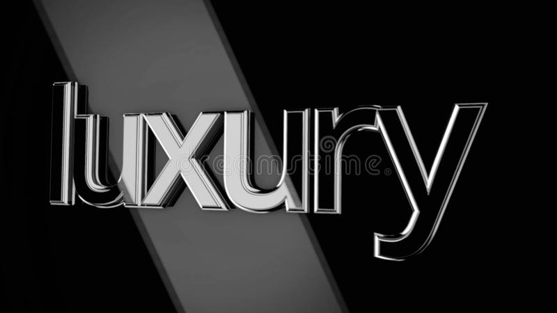 3D word luxury moving on black background with wide beams of light, monochrome. Volume sign luxury moving in rays of stock illustration