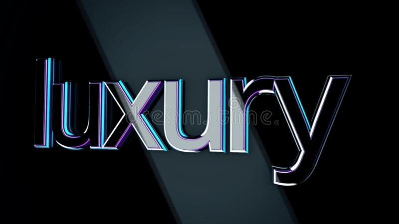 3D word luxury moving on black background with wide beams of light. Volume, purple and blue sign luxury moving in rays stock illustration