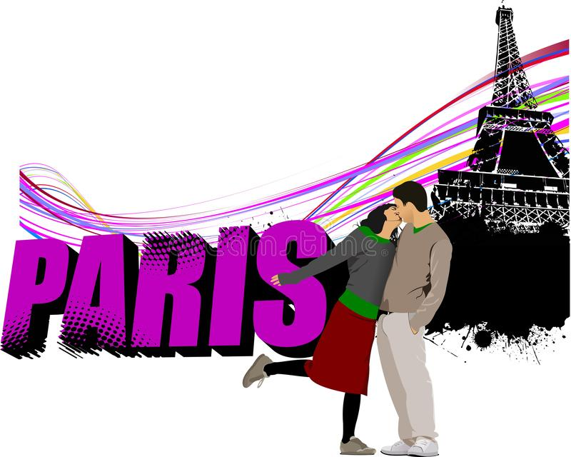 3D word Paris on the Eiffel tower . stock illustration