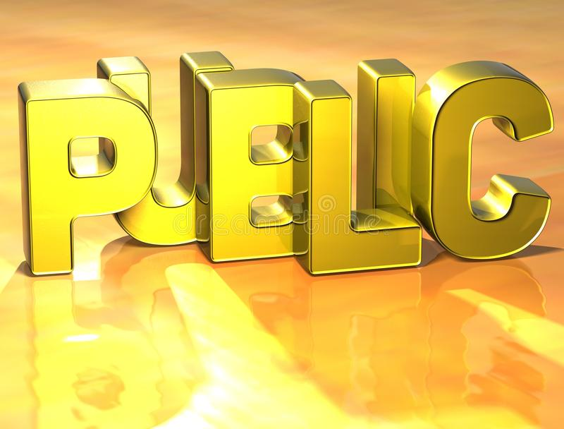 3D Word Public on yellow background vector illustration