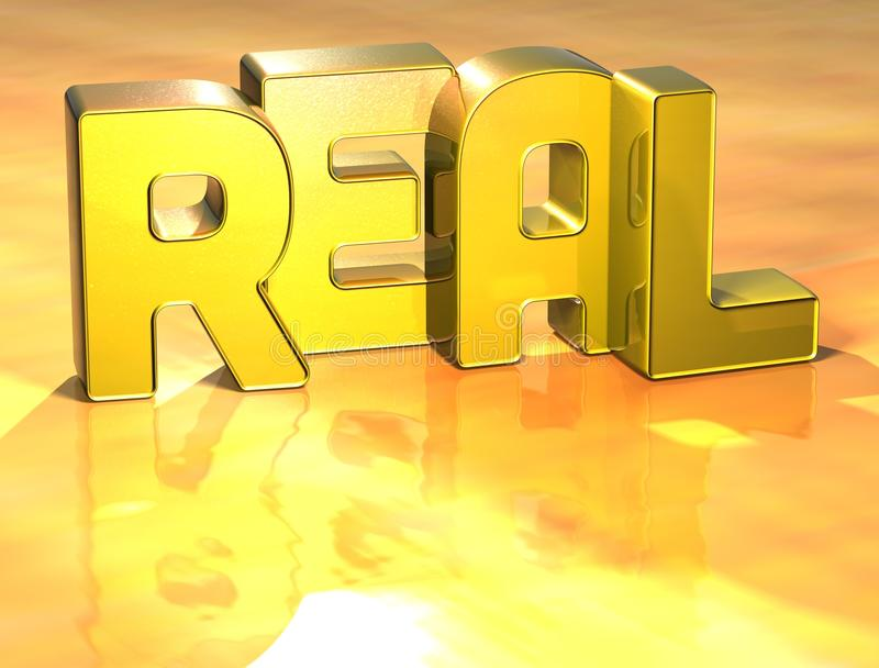 3D Word Real on yellow background royalty free illustration