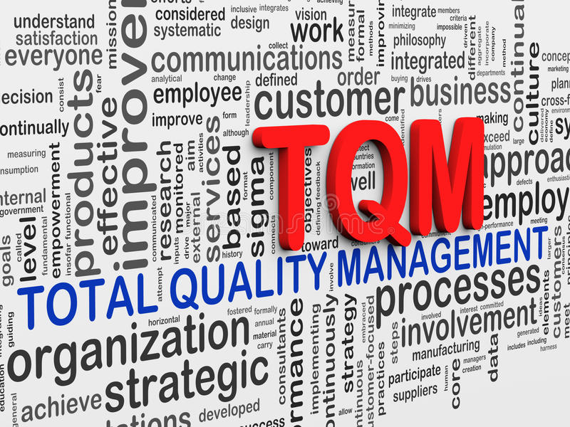 3d word tags wordcloud of tqm stock illustration