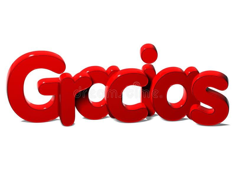 3D Word vous remercient dans la langue espagnole sur le fond blanc illustration stock