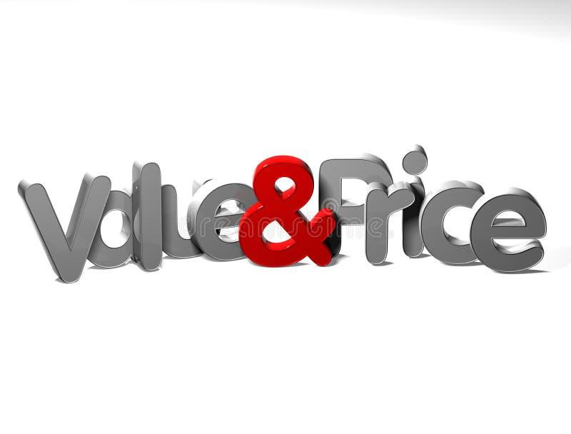 3D Word Waarde en Prijs op witte achtergrond stock illustratie