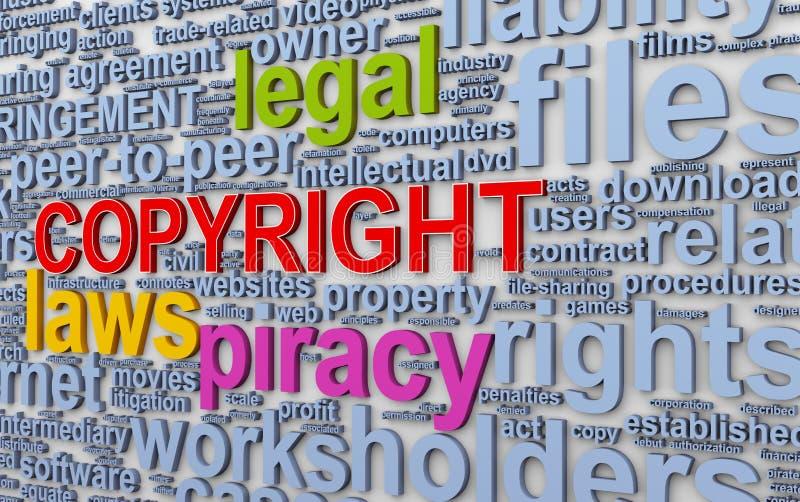 3d Wordcloud słów etykietki prawo autorskie royalty ilustracja