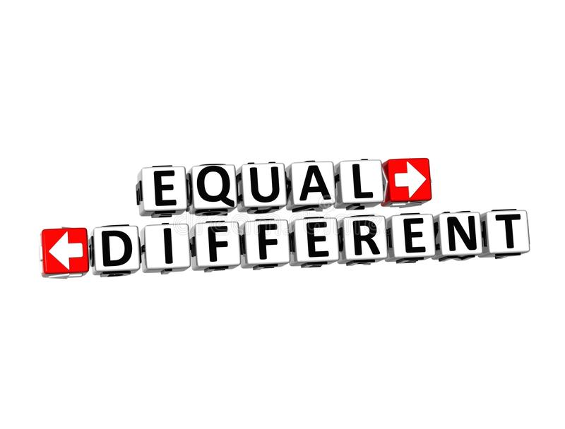 3D Words Equal and Different on white background.  stock illustration