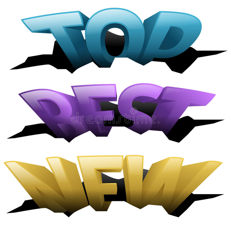 3D Words in holes vector illustration