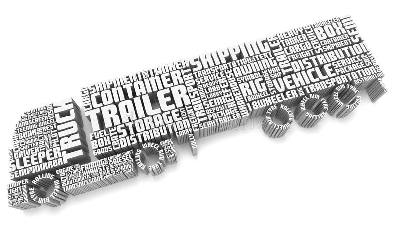3d words shaping a truck with trailer aerial view stock illustration