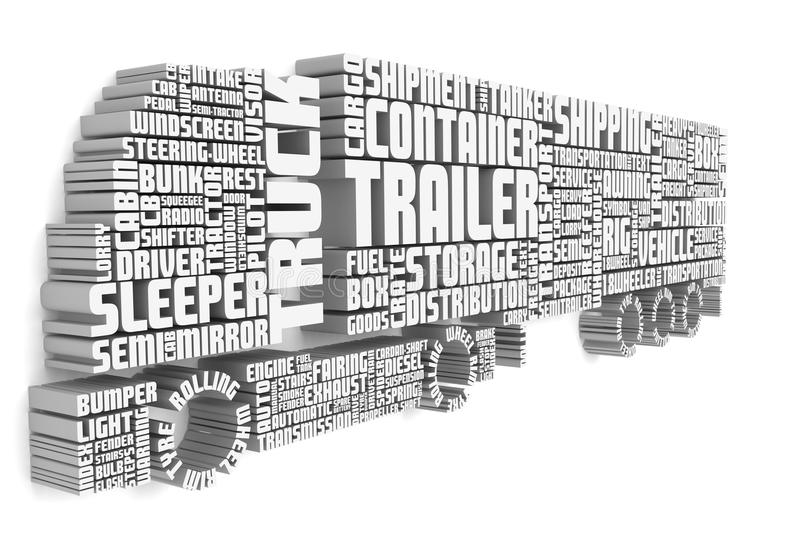3d words shaping a truck with trailer front view stock illustration