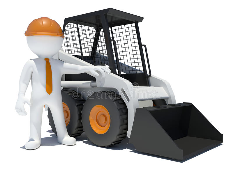 Download 3d Worker With Construction Loader Stock Illustration - Image: 41427351