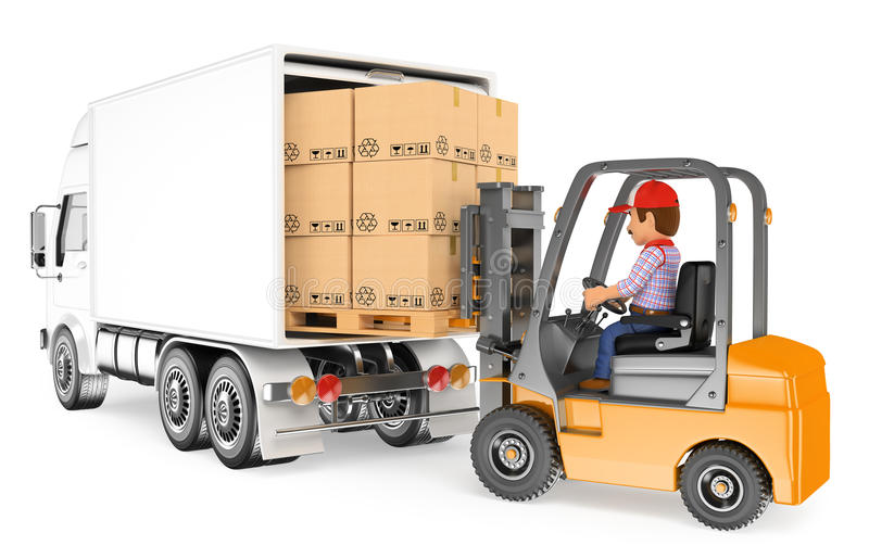 3d Worker Driving A Forklift Loading A Truck Stock