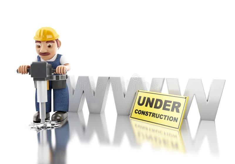 3d Worker with jackhammer. Website building vector illustration