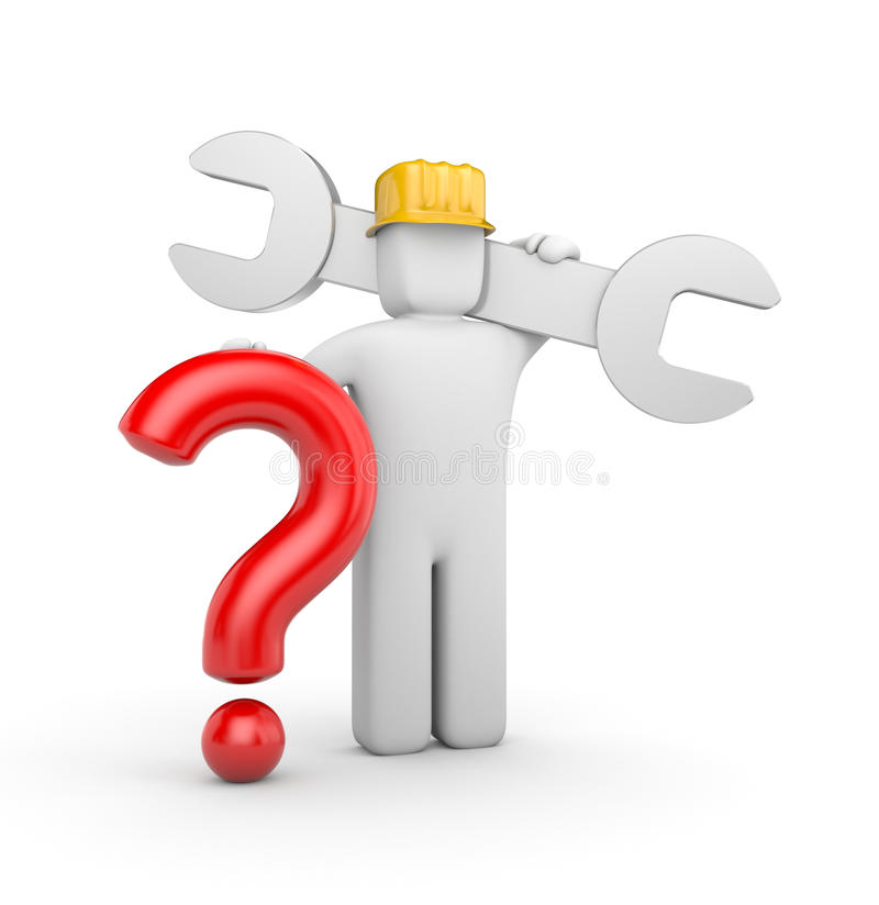 3d worker with spanner and question