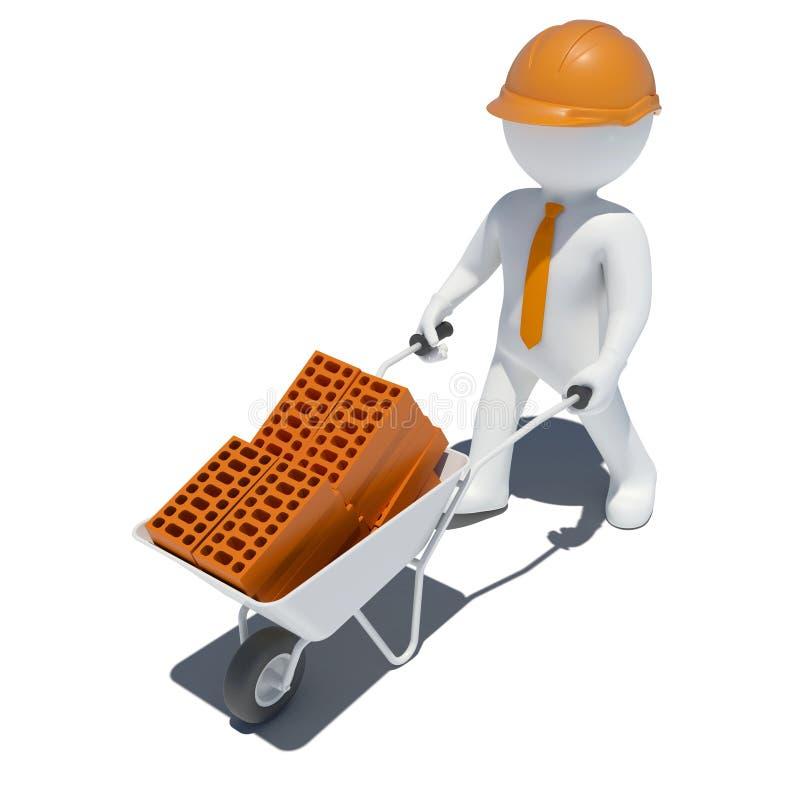 3d Worker With Wheelbarrow Stock Illustration