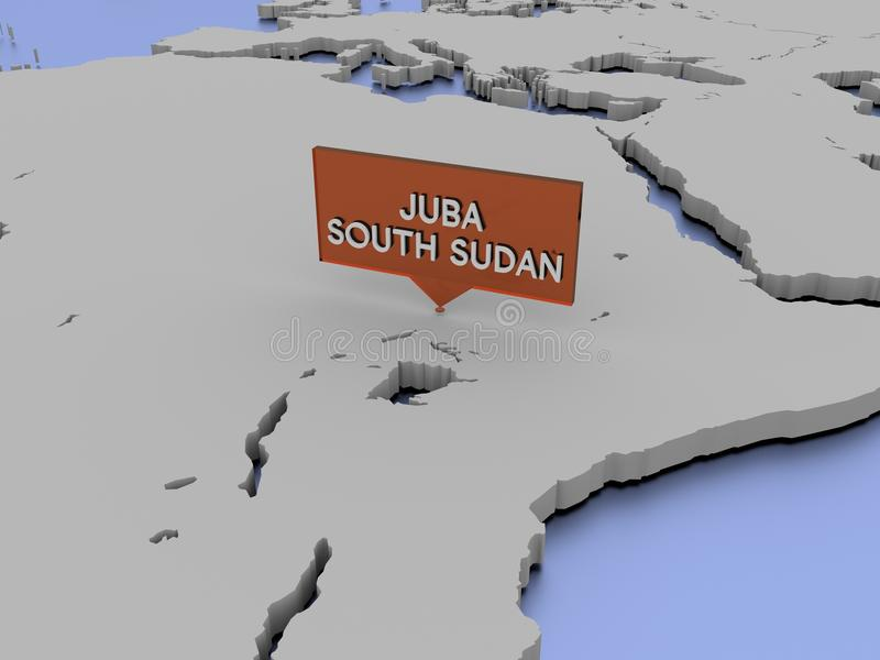3d World Map Illustration Juba South Sudan Stock Image Image of