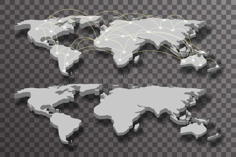 3d world map shadow light transparent connections background vector illustration