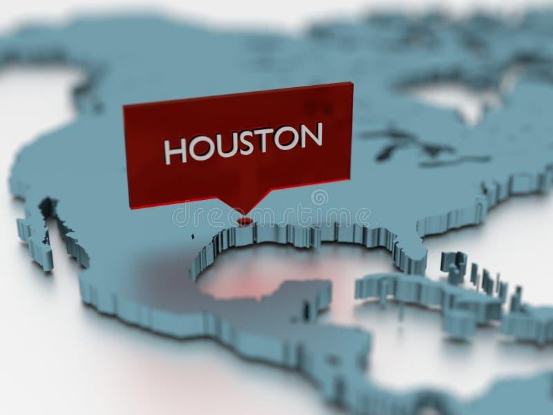 3d world map sticker - City of Houston vector illustration